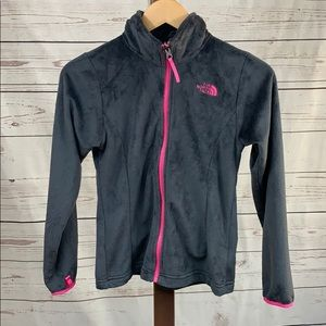 The North Face Soft Gray and Pink Zip Jacket